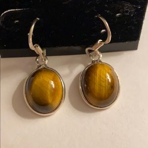 Cats Eye and Sterling Silver Earrings